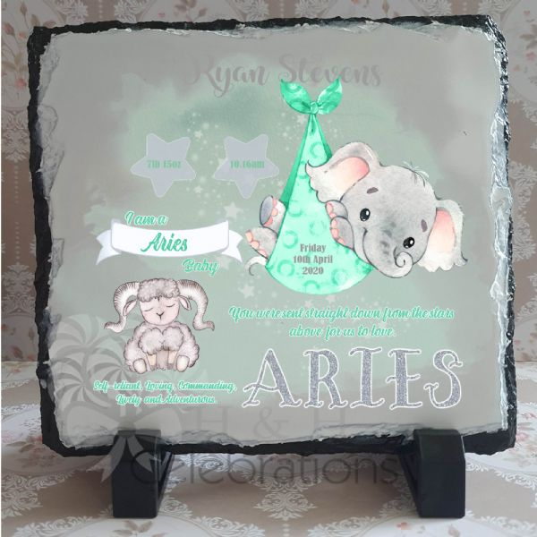 Aries - Baby Star Sign Keepsake Rock Slate